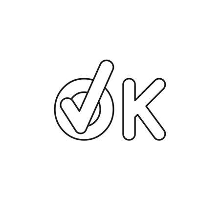 Vector icon concept of ok word text with check mark. Black outlines.