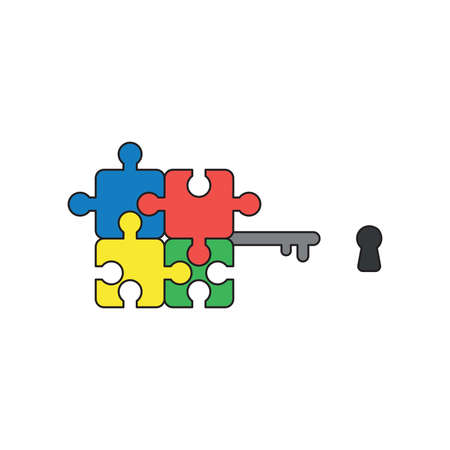 Vector icon concept of blue, red, yellow and green connected jigsaw puzzle pieces key and keyhole. Black outlines and colored.