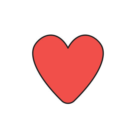Vector icon of red heart shape. Black outlines and colored. Ilustração