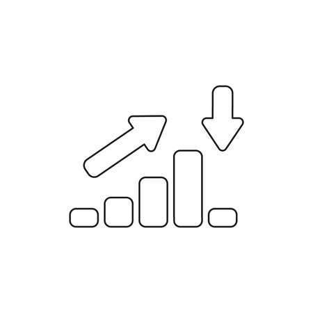 Vector icon concept of sales bar chart moving up then moving down with arrows pointing up and down. Black outlines.