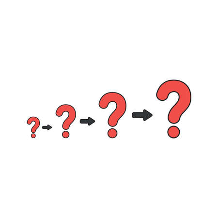 Vector illustration concept of growing problems with red question marks. Black outlines and colored.