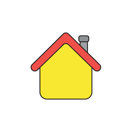 Vector icon concept of yellow house with red roof. Black outlines and colored.