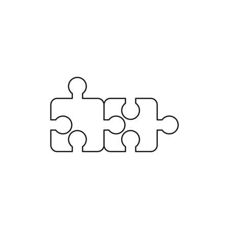 Vector icon concept of two puzzle pieces connected. Black outlines.