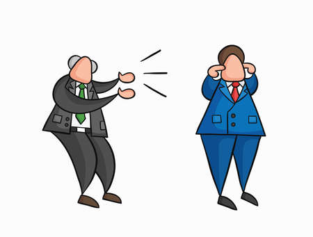 Hand-drawn vector illustration angry boss yelling at businessman worker and he is closing his ears. Colored and black outlines.