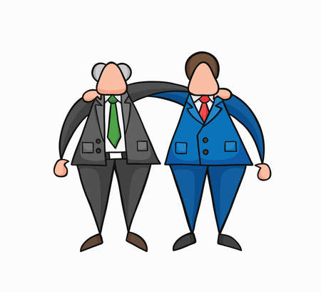 Hand-drawn vector illustration happy boss and businessman worker hugging each other. Colored and black outlines.