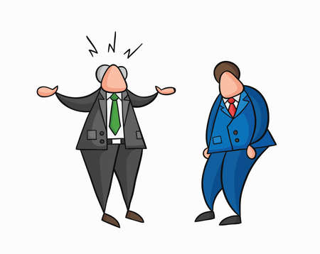 Hand-drawn vector illustration angry boss with businessman worker. Colored and black outlines.