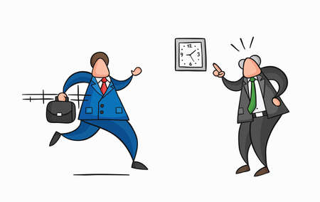 Hand-drawn vector illustration businessman worker late for work and angry boss shows him what time is it. Colored and black outlines.