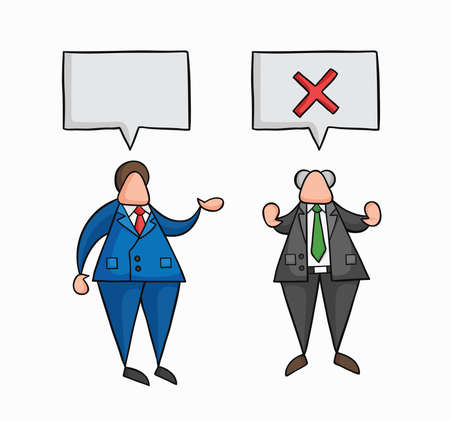 Hand-drawn vector illustration businessman worker speaks with boss and boss rejects. Colored and black outlines.