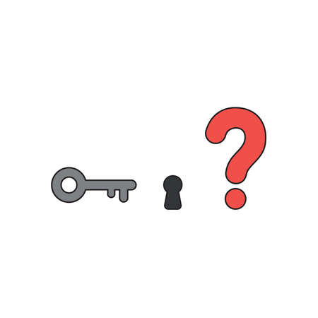 Vector icon concept of key and keyhole with red question mark. Black outlines and colored. Foto de archivo - 122819344