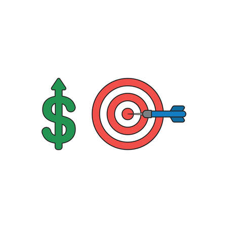Vector icon concept of green dollar symbol with arrow moving up and bulls eye with dart in the center. Black outlines and colored.