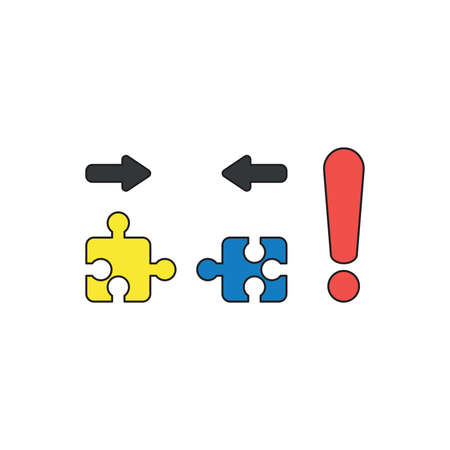 Vector icon concept of two pieces of yellow and blue jigsaw puzzle pieces that are incompatible with each other and red exclamation mark. Black outlines and colored.