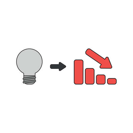 Vector icon concept of grey light bulb idea with red sales bar chart moving down. Black outlines and colored.