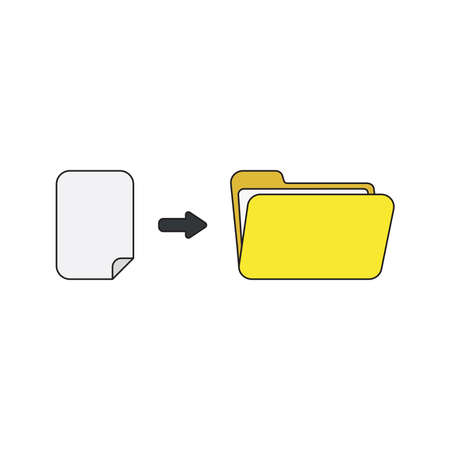 Vector icon concept of blank paper into yellow open folder. Black outlines and colored. 向量圖像