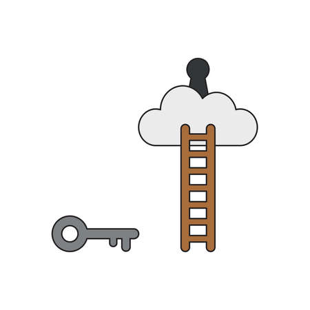 Vector icon concept of grey key reach keyhole on cloud with wooden ladder. Black outlines and colored.