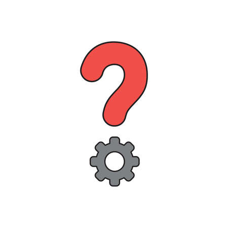 Vector icon concept of red question mark with grey gear. Black outlines and colored. Illustration