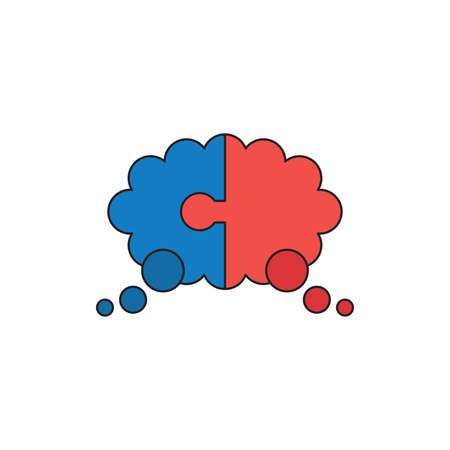 Vector icon concept of blue and red color two pieces jigsaw puzzle thought bubble. Black outlines and colored.
