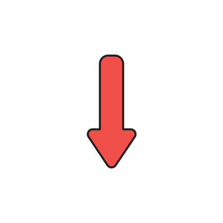 Vector icon of red arrow moving down. Black outlines and colored. Illustration