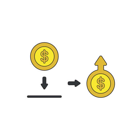 Vector icon concept of putting and saving dollar money coin into moneybox and increase of money with arrow moving up on coin. Black outlines and colored.