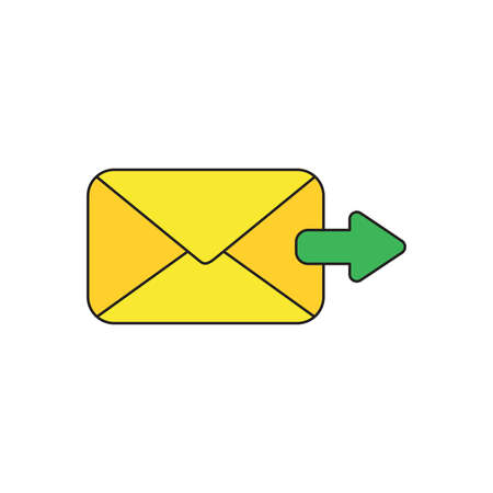 Vector icon concept of send message or email with envelope and green arrow moving right. Black outlines and colored.