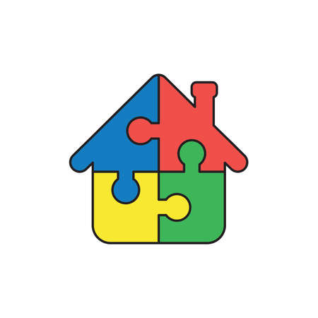 Vector icon concept of house shape blue, red, yellow and green puzzle pieces connected. Illustration