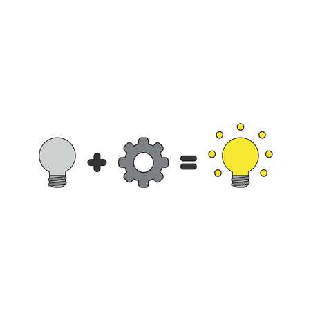 Concepto de icono de vector de idea de bombilla de luz gris más engranaje es igual a idea de bombilla de luz amarilla brillante. Contornos negros y coloreados.
