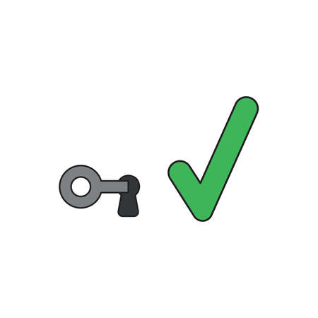 Vector icon concept of key in keyhole with green check mark. Black outlines and colored. 向量圖像