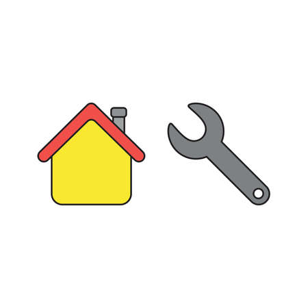 Vector icon concept of house with grey spanner. Black outlines and colored.