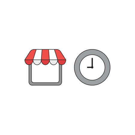Vector icon concept of shop store with clock. Black outlines and colored.