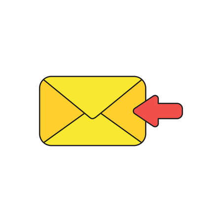 Vector icon concept of receive message or email with envelope and red arrow moving left. Black outlines and colored.