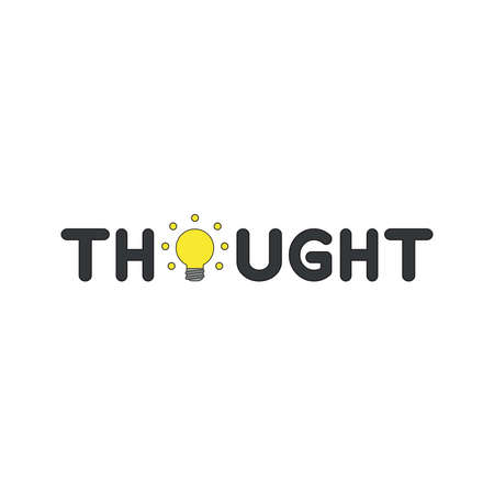 Vector icon concept of thought word with glowing yellow light bulb. Black outlines and colored.