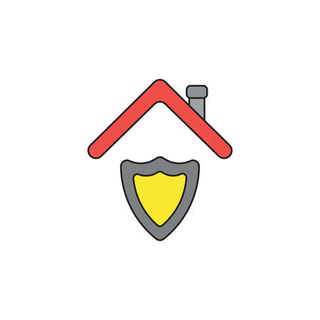 Vector icon concept of guard shield under red roof. Black outlines and colored. Stockfoto - 122819417