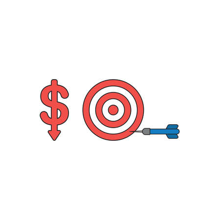 Vector icon concept of red dollar symbol with arrow moving down and bulls eye with dart in the side. Black outlines and colored.