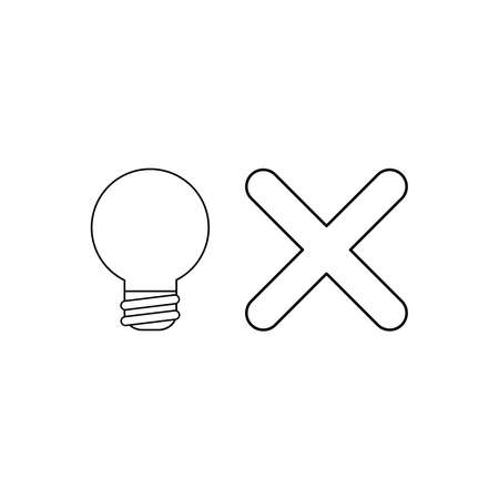 Vector icon concept of light bulb with x mark. Black outlines. Vectores