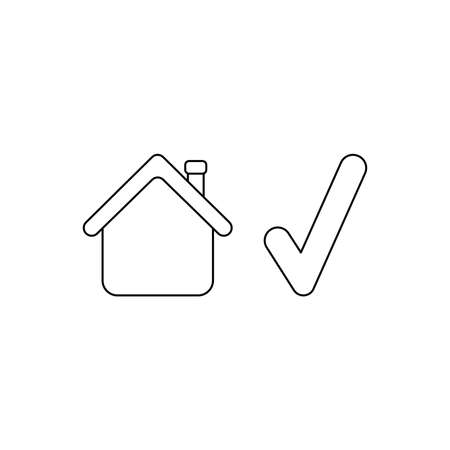 Vector icon concept of house with check mark. Black outlines. Stock Illustratie