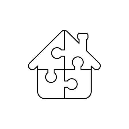 Vector icon concept of house shape four puzzle pieces connected. Black outlines.
