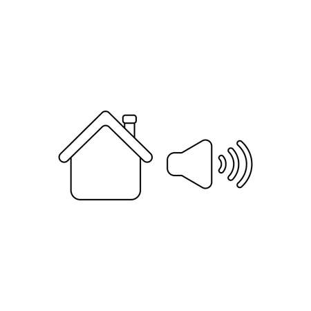Vector icon concept of house with high speaker sound, loud voice. Black outlines.