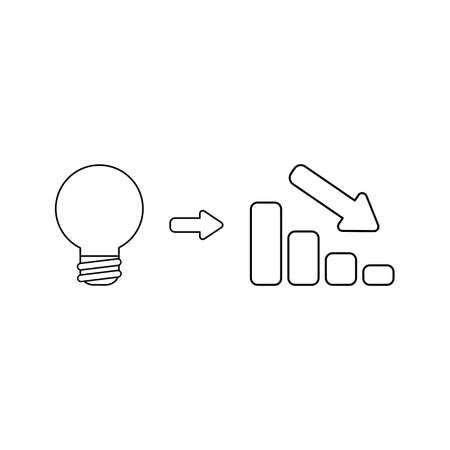 Vector icon concept of light bulb idea with sales bar chart moving down. Black outlines. Illustration
