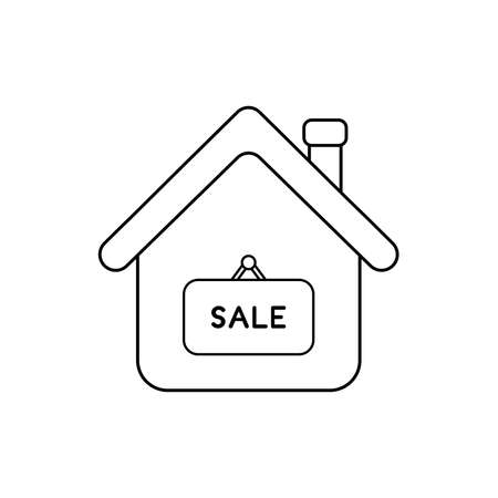 Vector icon concept of house with sale word written on hanging sign. Black outlines.