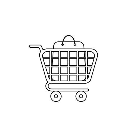 Vector icon concept of shopping bag inside shopping cart. Black outlines.