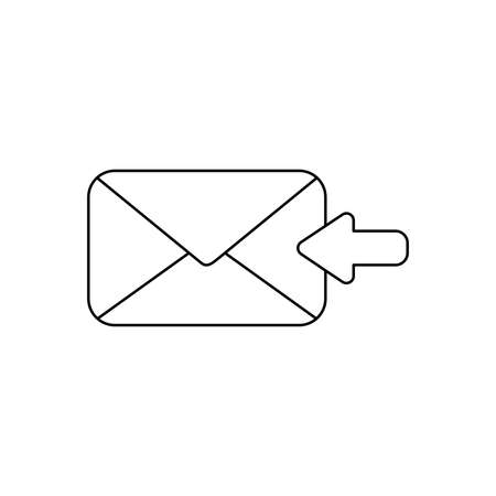 Vector icon concept of receive message or email with envelope and arrow moving left. Black outlines.