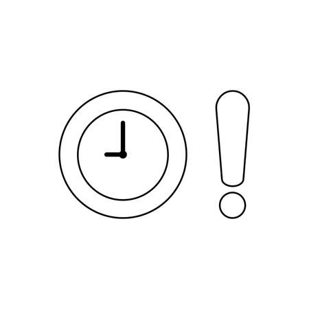 Vector icon concept of clock with exclamation mark. Black outlines.