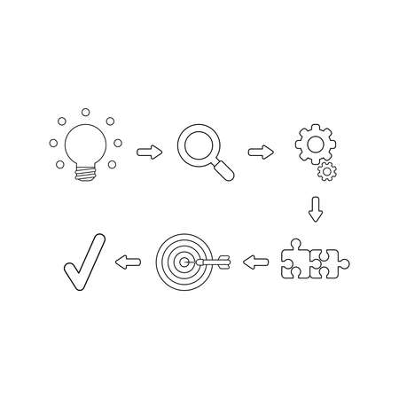 Vector icon concept of glowing light bulb idea, magnifying glass, gears, connected jigsaw puzzle pieces, bulls eye and dart in the center and check mark. Black outlines.