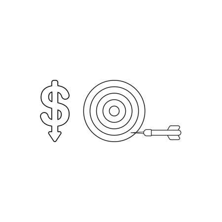 Vector icon concept of dollar symbol with arrow moving down and bulls eye with dart in the side. Black outlines. Illustration