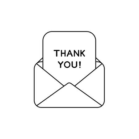 Vector icon concept of open envelope mail or message with thank you written on paper. Black outlines.
