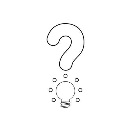 Vector icon concept of question mark with glowing light bulb. Black outlines.