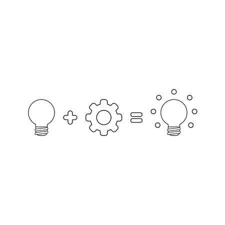 Vector icon concept of grey light bulb idea plus gear equals glowing light bulb idea. Black outlines.