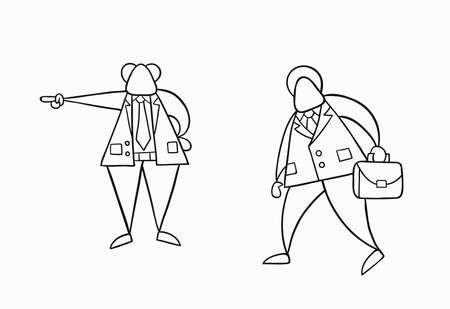 Hand-drawn vector illustration boss firing businessman worker. White colored and black outlines. 일러스트