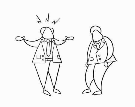Hand-drawn vector illustration angry boss with businessman worker. White colored and black outlines. 矢量图像
