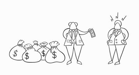 Hand-drawn vector illustration boss has a lot of money with sacks and pays one money to his businessman worker. White colored and black outlines.