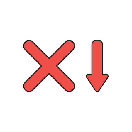 Vector icon concept of red x mark with red arrow moving down.
